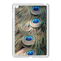 Colorful Peacock Feathers Background Apple iPad Mini Case (White)