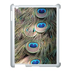 Colorful Peacock Feathers Background Apple iPad 3/4 Case (White)