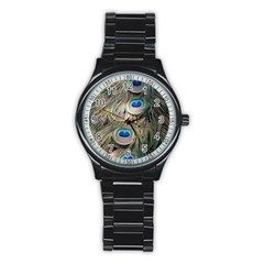 Colorful Peacock Feathers Background Stainless Steel Round Watch