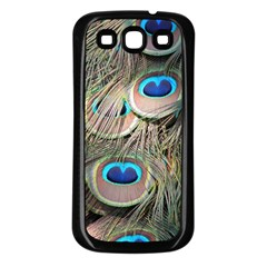 Colorful Peacock Feathers Background Samsung Galaxy S3 Back Case (Black)