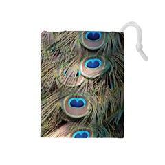 Colorful Peacock Feathers Background Drawstring Pouches (Medium)
