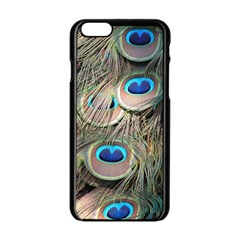 Colorful Peacock Feathers Background Apple iPhone 6/6S Black Enamel Case