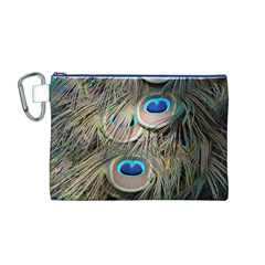Colorful Peacock Feathers Background Canvas Cosmetic Bag (m)
