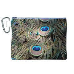 Colorful Peacock Feathers Background Canvas Cosmetic Bag (XL)