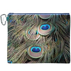 Colorful Peacock Feathers Background Canvas Cosmetic Bag (XXXL)