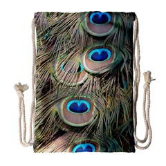 Colorful Peacock Feathers Background Drawstring Bag (Large)