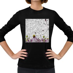 Abstract Pattern Women s Long Sleeve Dark T Shirts