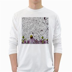 Abstract Pattern White Long Sleeve T-Shirts