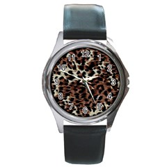 Background Fabric Animal Motifs Round Metal Watch