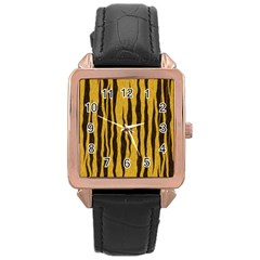 Seamless Fur Pattern Rose Gold Leather Watch