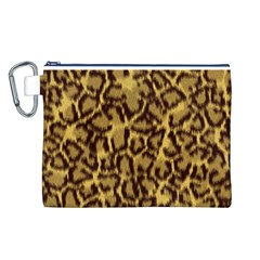 Seamless Animal Fur Pattern Canvas Cosmetic Bag (l)