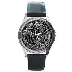 Gray Background Pattern Round Metal Watch