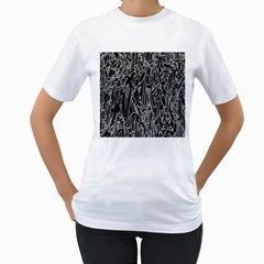 Gray Background Pattern Women s T-Shirt (White) (Two Sided)