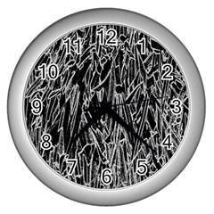 Gray Background Pattern Wall Clocks (Silver)
