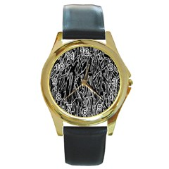 Gray Background Pattern Round Gold Metal Watch