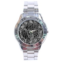 Gray Background Pattern Stainless Steel Analogue Watch