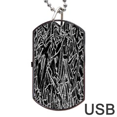 Gray Background Pattern Dog Tag USB Flash (Two Sides)
