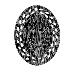 Gray Background Pattern Oval Filigree Ornament (Two Sides)
