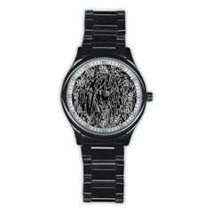 Gray Background Pattern Stainless Steel Round Watch