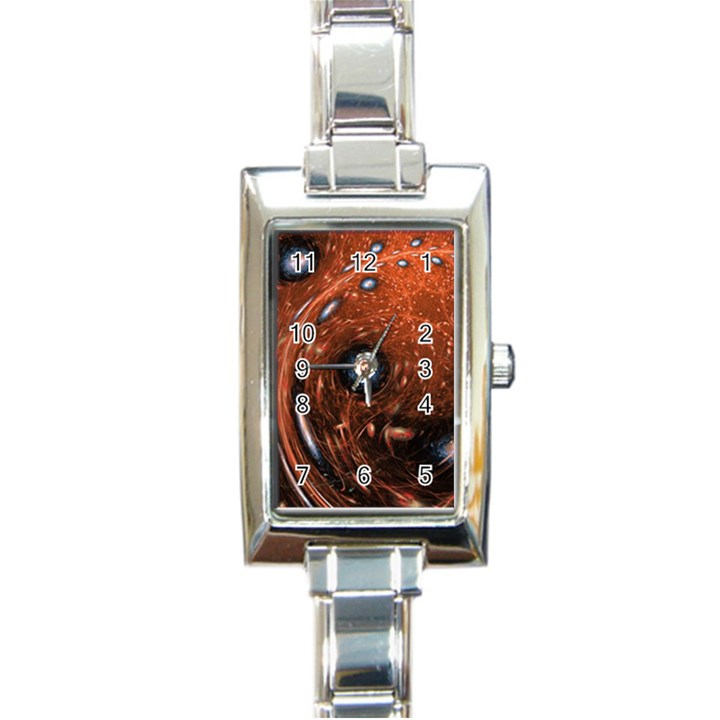 Fractal Peacock World Background Rectangle Italian Charm Watch