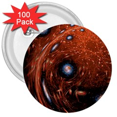 Fractal Peacock World Background 3  Buttons (100 pack)