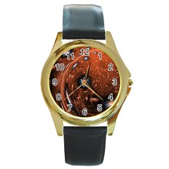 Fractal Peacock World Background Round Gold Metal Watch