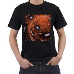 Fractal Peacock World Background Men s T-Shirt (Black)