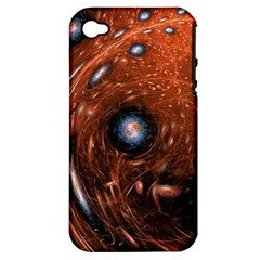 Fractal Peacock World Background Apple iPhone 4/4S Hardshell Case (PC+Silicone)