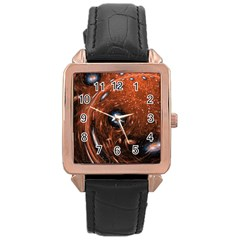 Fractal Peacock World Background Rose Gold Leather Watch