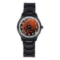Fractal Peacock World Background Stainless Steel Round Watch