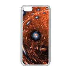 Fractal Peacock World Background Apple iPhone 5C Seamless Case (White)