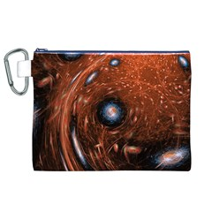 Fractal Peacock World Background Canvas Cosmetic Bag (XL)