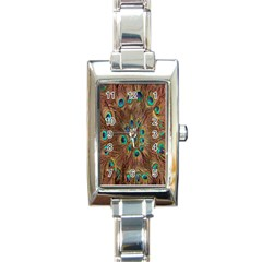 Peacock Pattern Background Rectangle Italian Charm Watch