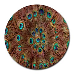 Peacock Pattern Background Round Mousepads