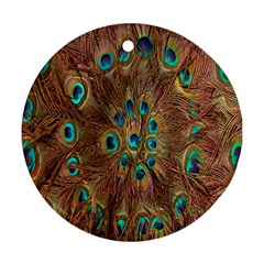 Peacock Pattern Background Ornament (round)
