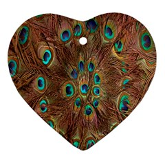 Peacock Pattern Background Ornament (heart)