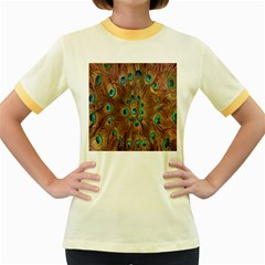 Peacock Pattern Background Women s Fitted Ringer T-Shirts