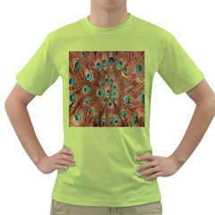 Peacock Pattern Background Green T Shirt