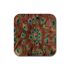 Peacock Pattern Background Rubber Coaster (square)