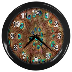 Peacock Pattern Background Wall Clocks (black)