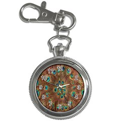 Peacock Pattern Background Key Chain Watches