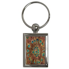 Peacock Pattern Background Key Chains (Rectangle)