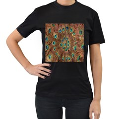 Peacock Pattern Background Women s T Shirt (black) (two Sided)