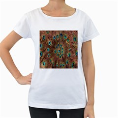 Peacock Pattern Background Women s Loose-Fit T-Shirt (White)