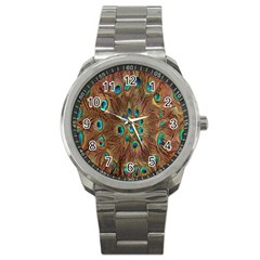 Peacock Pattern Background Sport Metal Watch