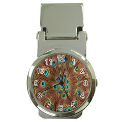 Peacock Pattern Background Money Clip Watches
