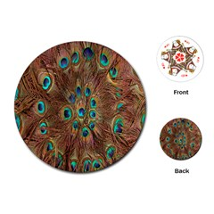 Peacock Pattern Background Playing Cards (Round)