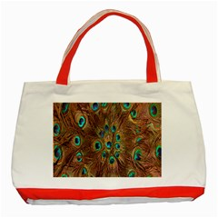 Peacock Pattern Background Classic Tote Bag (red)
