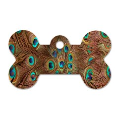 Peacock Pattern Background Dog Tag Bone (two Sides)