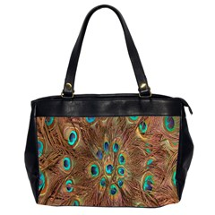 Peacock Pattern Background Office Handbags (2 Sides)